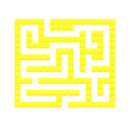 Square maze yellow bricks toy labyrinth game for kids. Labyrinth logic conundrum. One entrance and one right way to go. Vector bright flat illustration isolated on white background.