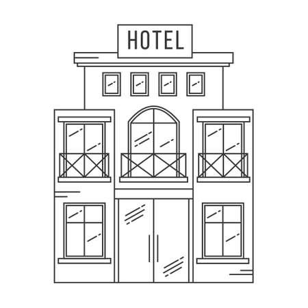 Hotel building outline. Vector line-art illustration isolated on white background.