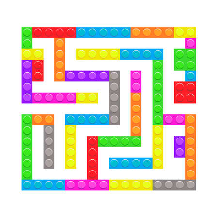 Square maze bricks toy labyrinth game for kids. Labyrinth logic conundrum. One entrance and one right way to go. Vector bright flat illustration isolated on white background.