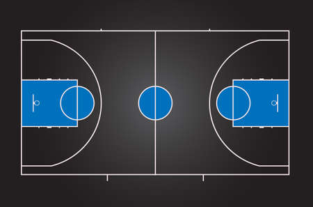 Basketball court. Black background with blue details. Multicolor vector illustration. View from above.