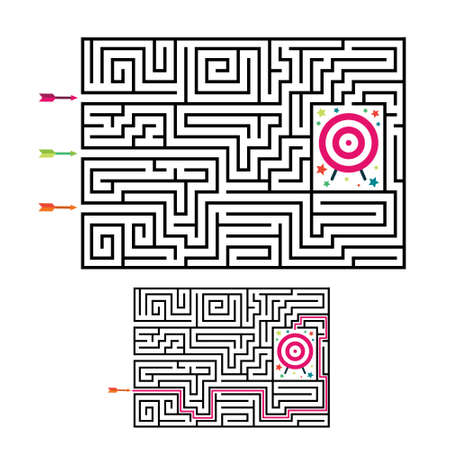 Square maze labyrinth game for kids. Labyrinth logic conundrum with target and arrows. 3 entrance and one right way to go. Vector flat illustration isolated on white background. 向量圖像
