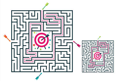 Square maze labyrinth game for kids. Labyrinth logic conundrum with target and arrows. Four entrance and one right way to go. Vector flat illustration isolated on white background.
