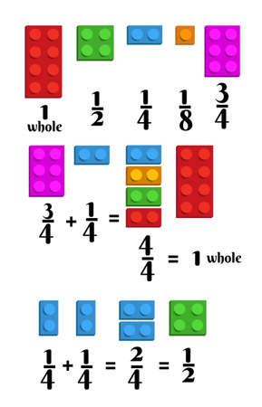 Learn math fractions with constructor blocks. For junior schoolchildren. Vector illustration is isolated on a white background.