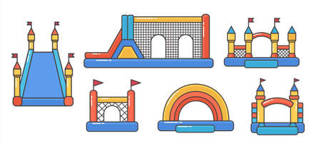 Set of bouncy inflatable castle. Tower and equipment for child playground. Vector color line illustration isolated on white background.