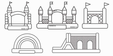 Set of bouncy inflatable castle. Tower and equipment for child playground. Vector outline illustration isolated on white background.