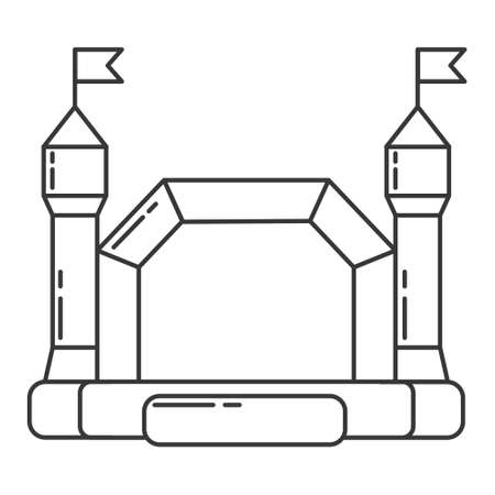 Bouncy castle outline icon. Jumping house on kids playground. Vector line illustration. Vetores