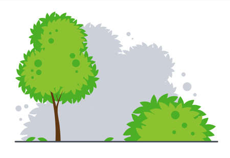 Landscape with tree and bush. Park or forest background. Vector flat cartoon illustration isolated on white background.
