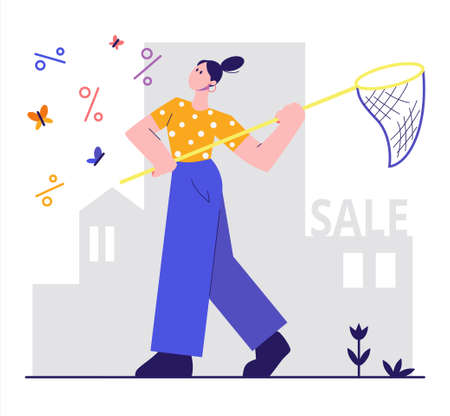 The girl catches a discount with net. Sale illustration in flat style. Can use for web banner, promo poster. Isolated on white background.
