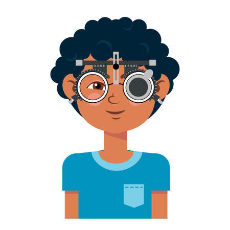 Children vision checkup in ophthalmological clinic. Optometrist checking kid eyesight with spectacles medical equipment. Glasses lens selection. boy flat cartoon character illustration