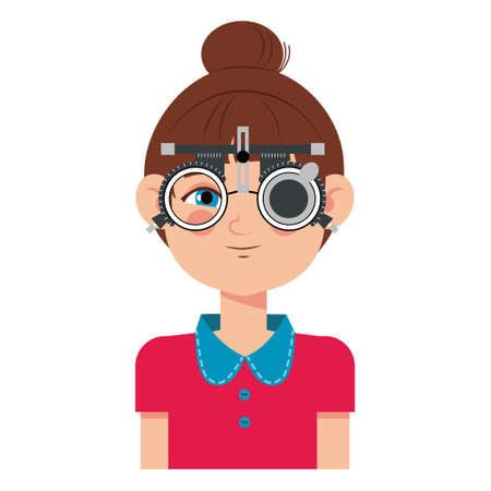 Children vision checkup in ophthalmological clinic. Optometrist checking kid eyesight with spectacles medical equipment. Glasses lens selection. Girl flat cartoon character illustration isolated on white background.