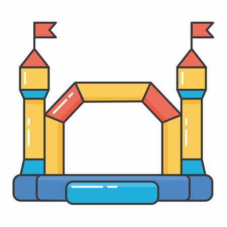 Bouncy inflatable castle. Tower and equipment for child playground. Vector color line illustration