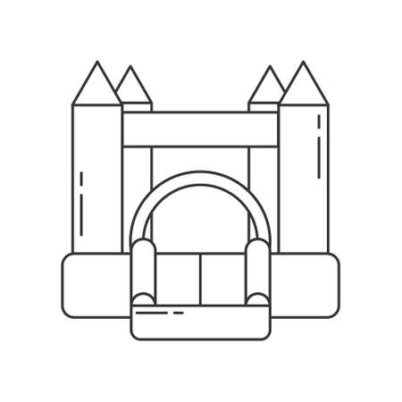 Bouncy castle outline icon. Jumping house on kids playground. Vector illustration. Векторная Иллюстрация