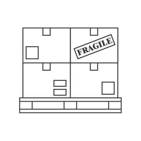 Boxes on a pallet line icon illustration for logistics. Vector design on white background.