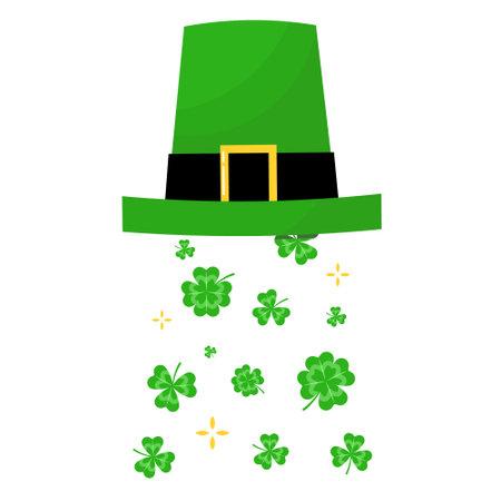 St. Patricks green hat with four-leaves clover. Leprechaun hat. Vector illustration. Ilustracja