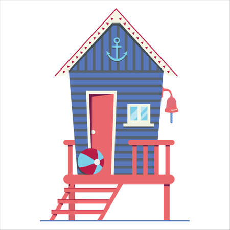 Beach house. Hut on the coast. Vector flat illustration.