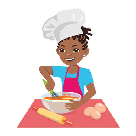 An Afro-american teenage girl cooks a meal in a chefs hat. A female chef is a pastry chef. Vector cartoon illustration on white background.