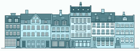 Amsterdam buildings skyline. Linear cityscape with various row houses. Outline illustration with old Dutch buildings.