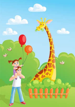 girl with her dad meeting giraffe in the zoo Illustration