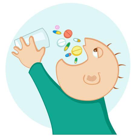 gulp: man swallow a lot of medication