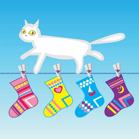 clothes line: white cat on a clothes line with striped socks hanged on
