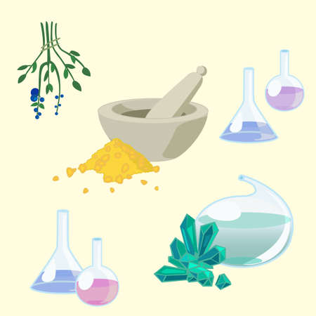 organic fluid: set of objects from ancient chemists laboratory