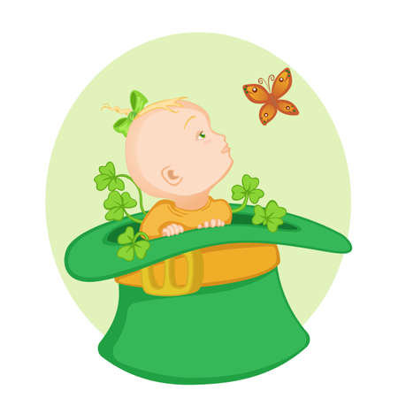 trifolium: Cute little baby sitting in the big green Irish hatand looking at the batterfly