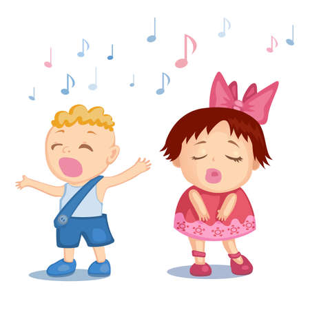 girl singing: Cartoon little boy and girl singing a song