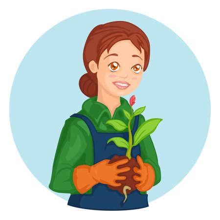 seedling: young lovely gardener girl with seedling in her hands Illustration