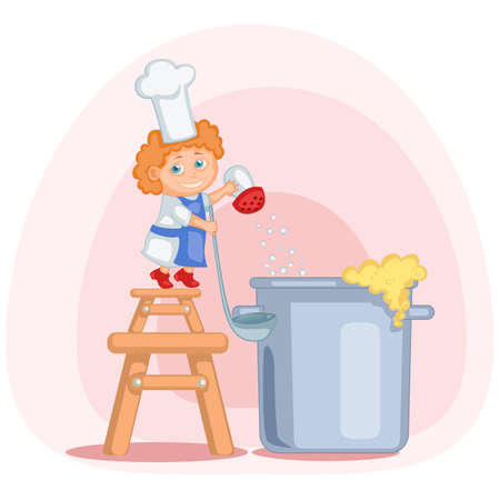 tiptoe: little cook standing on the stool with big ladle and salting a soup