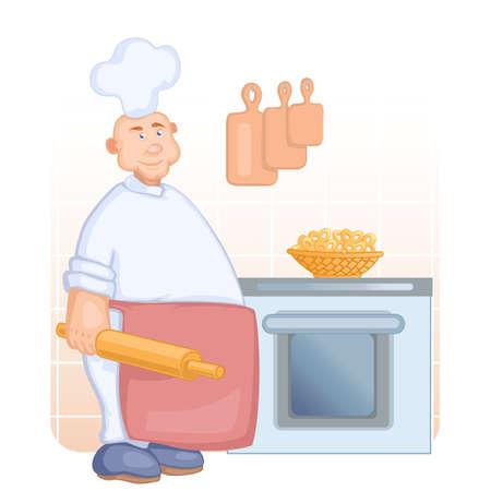imposing: grande e imponente cuoco nel cappello bianco e rosso grembiule con il mattarello in mano