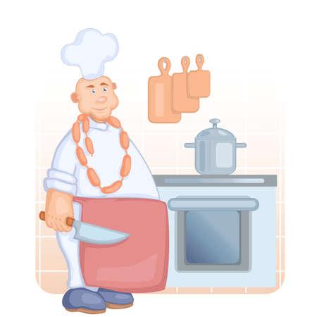 imposing: grande e imponente cuoco nel cappello bianco e un grembiule rosso con grande coltello in mano collana e salsiccia