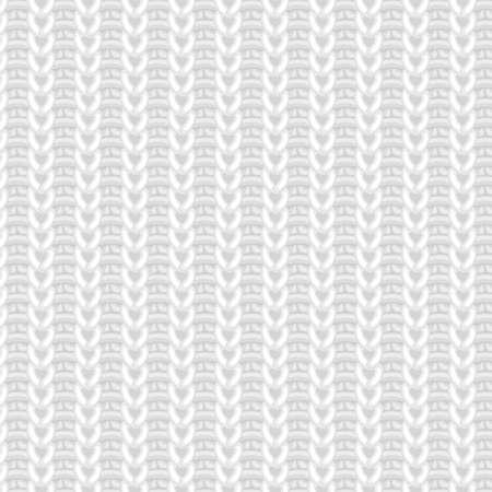 현실적인 흰색 울 니트 직물 벡터 원활한 패턴