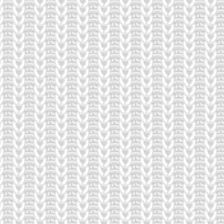 realistic white wool knitted fabric vector seamless pattern