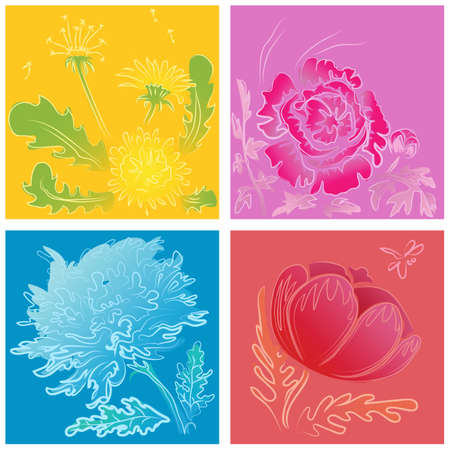 a set of modern stylized handdrawn flowers of peony, daizy, poppy and dandelion on bright background. editable Vector