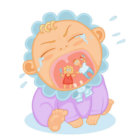 cute baby toddler screaming and bursting with tears Vektorové ilustrace