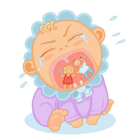 linda del niño del bebé gritando y llena de lágrimas Ilustración de vector