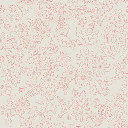 daisy pink: seamless pattern background with daisy flowers and leaves. pink on light grey variant