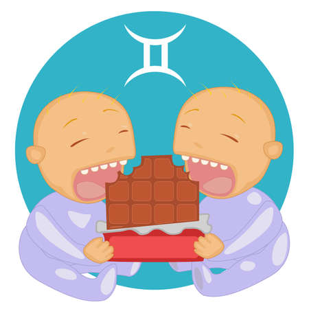 toddlers: Cute twins toddlers eating the chocolate symbolizing  Zodiac Gemini