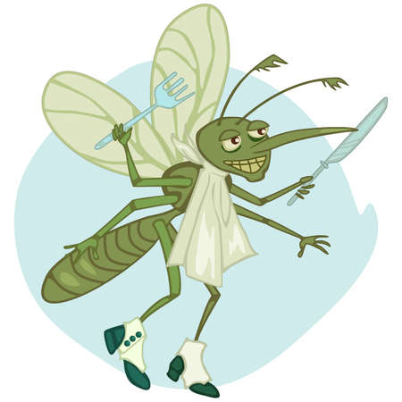 funny cartoon mosquito with fork and knife ready to have dinner