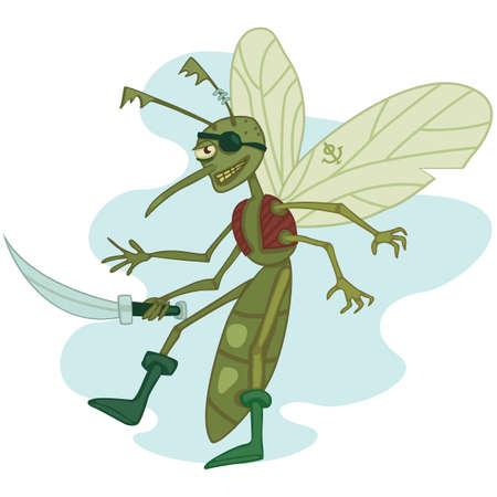cutlass: divertido tuerto mosquito del pirata con machete