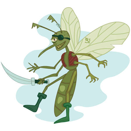 cutlass: funny one-eyed mosquito the pirate with cutlass