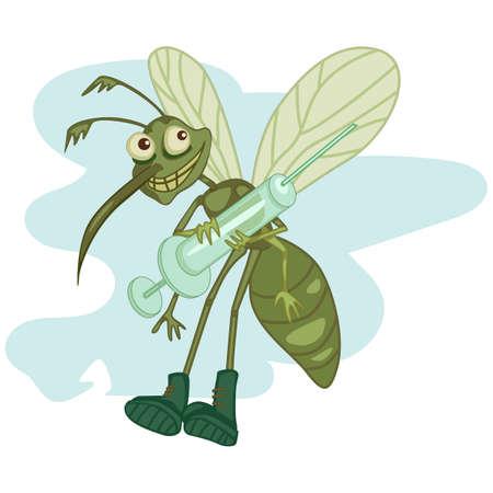 sampling: czrtoon hungry mosquito holding a big syringe