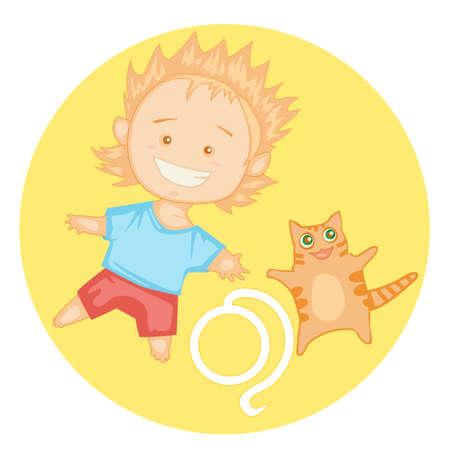 fortune cat: cute cheerful baby boy symbolizing zodiac Leo Illustration