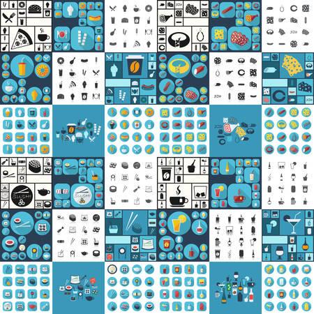 technologie: sushi, fast food, fromages et charcuterie, récipient de liquide Illustration