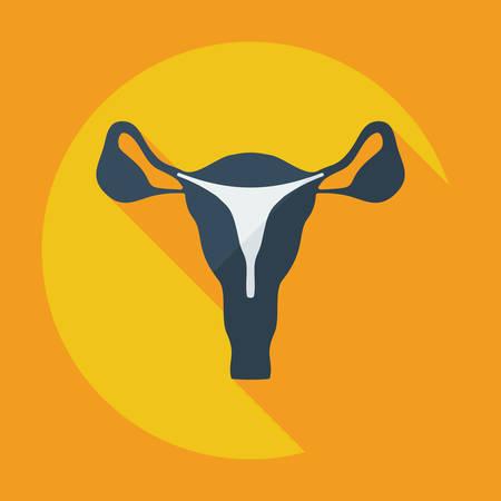 ovary: Dise�o moderno plana con iconos sombra �tero