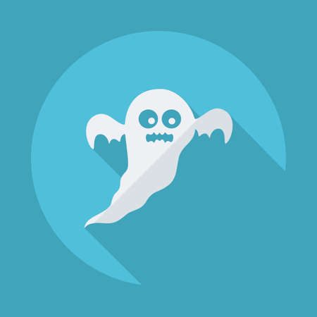 Flat modern design with shadow vector icons: halloween ghost Illustration