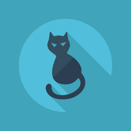 Flat modern design with shadow vector icons: halloween black cat Vector