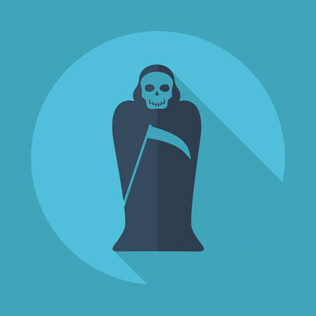 scythe: Flat modern design with shadow vector icons: halloween death   scythe
