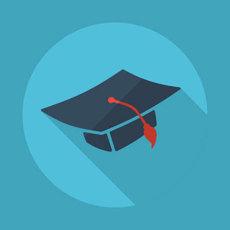 higher intelligence: Flat modern design with shadow vector icons: square academic hat