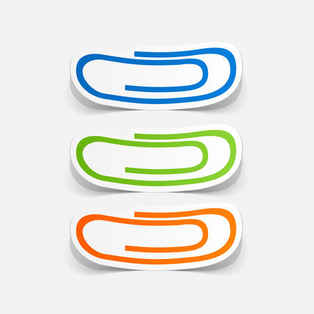 clipped: Paper clipped sticker: paper clip Illustration